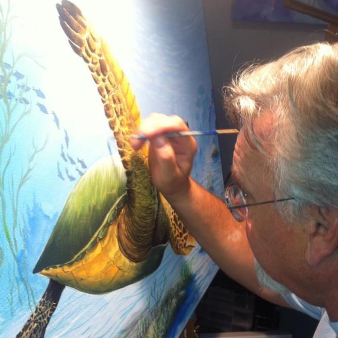 Artist Stewart Maxcy Painting Sea Life
